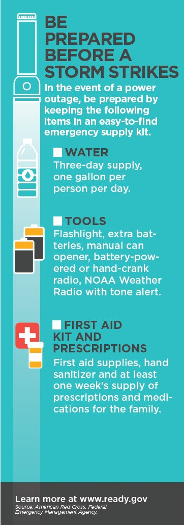 Be sure to keep water, tools, and emergency kit on hand during an outage.